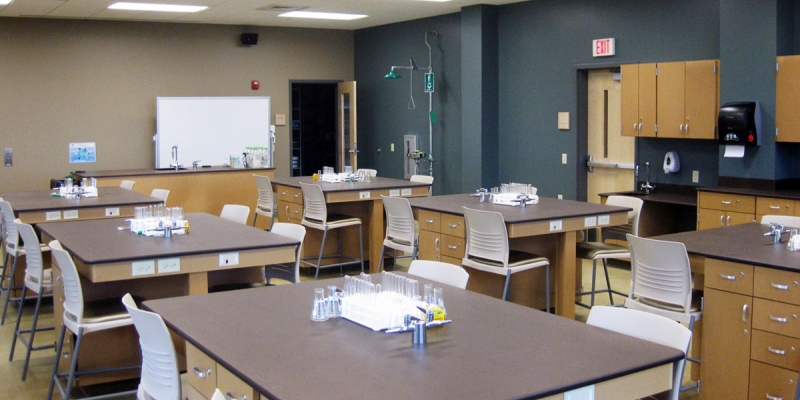 Concordia University Chemistry Lab, PaperStone Work Tables in Color Mocha