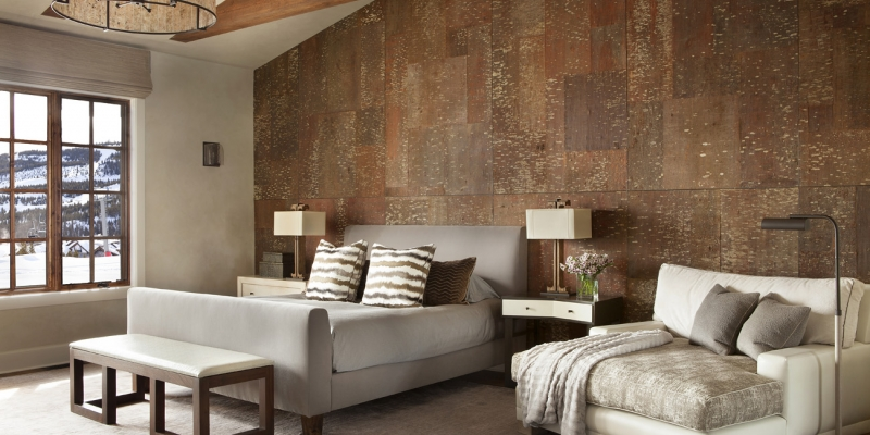 Feature Wall in Bedroom, Bark House in White Pine Bark Panel