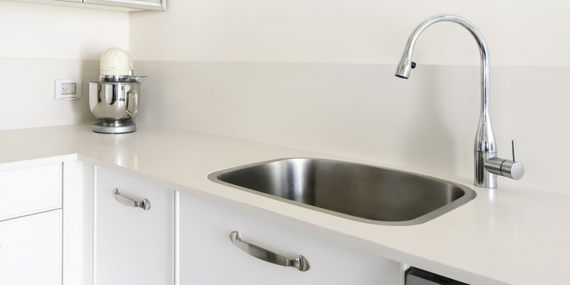 Lapitec Kitchen Countertop in Color Bianco Crema, Finish Satin
