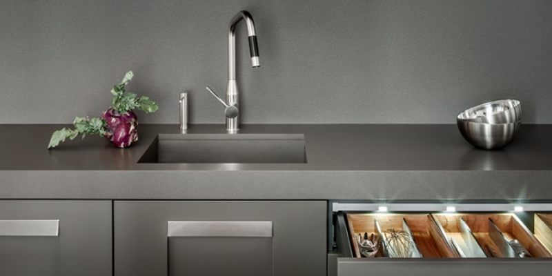 Lapitec Kitchen Countertop, Backsplash, and Cabinetry in Color Grigio Cemento