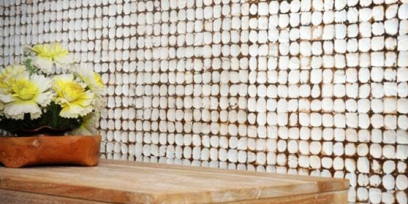 Kirei Coco Tiles, Java Collection, as a wall covering in Color Yogya White