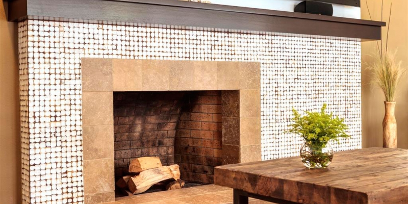 Kirei Coco Tiles, Java Collection, as a fireplace surround, in Color Yogya White