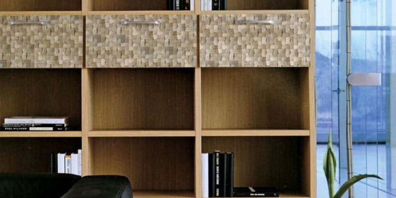 Kirei Coco Tiles, Sumatra Collection, as a bookshelf accent in Color Batak