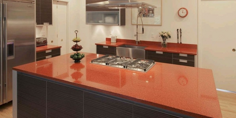 IceStone Kitchen Countertops in Moroccan Red