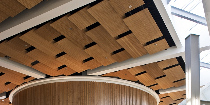 Plyboo Ceiling Panels in Amber Edge Grain Plywood