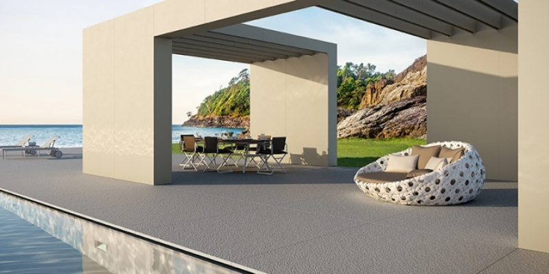Lapitec Cladding, Paving, and Pool Surround in Color Bianco Crema, variety of Finishes
