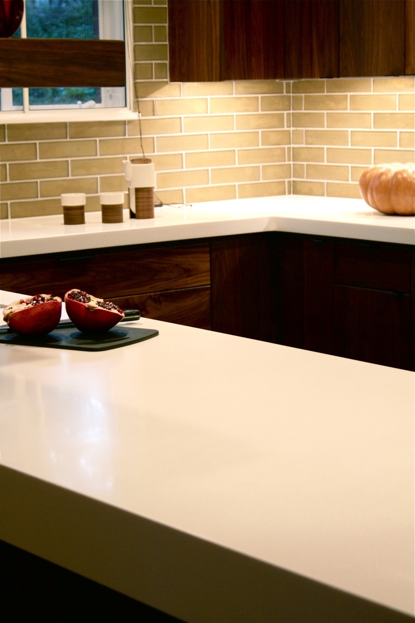 Durat Countertops and Oceanside Glasstile at Glass Residence Renovated Kitchen